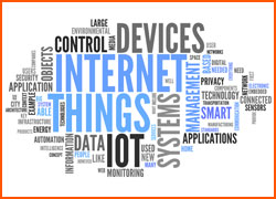 Word cloud comprised of technology terms such as Internet of Things, data, and systems