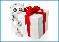 Robot holding white gift box with red ribbon