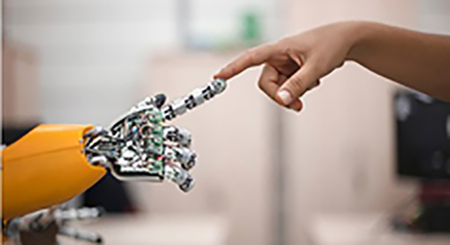 IEEE Technology Policy & Ethics robot  and human hand touching