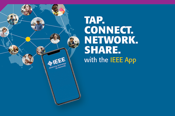 IEEE App displayed on a smart phone, with images of people networked behind it