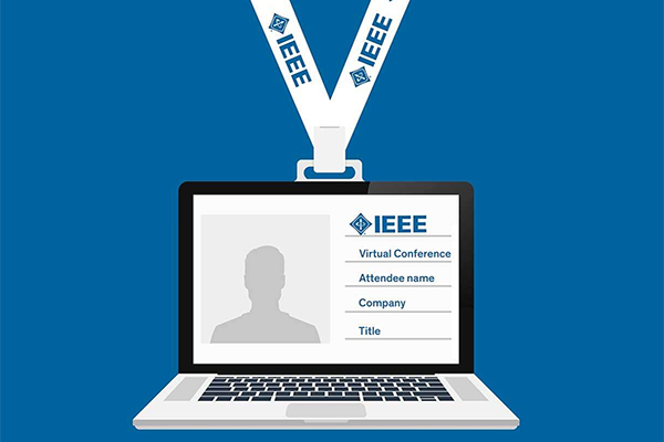 Laptop screen showing an ID card for an IEEE conference