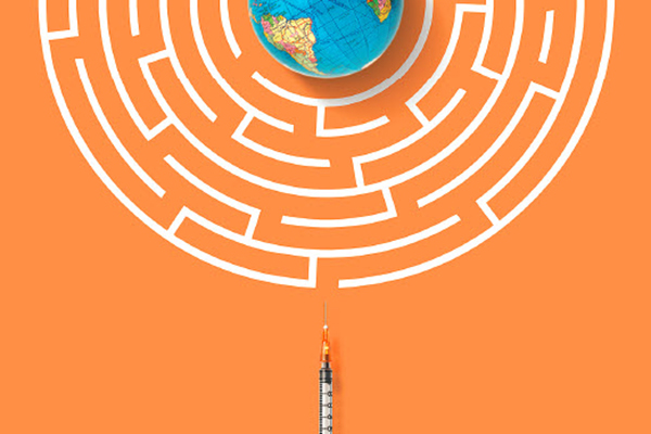 A vaccine syringe approaches a white maze, with the Earth in the middle