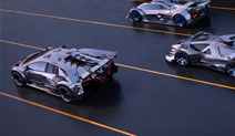 Three autonomous race cars racing on a track