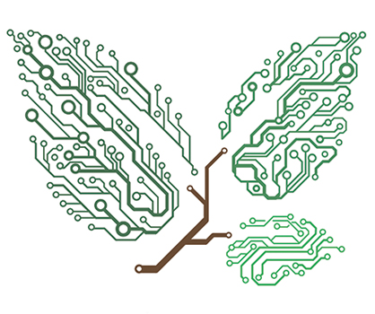 Illustration of green leaves made of microchips