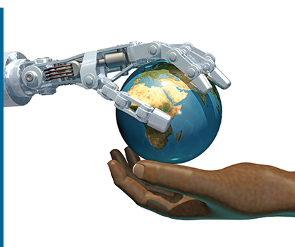 A robot hand passing a globe to a human hand